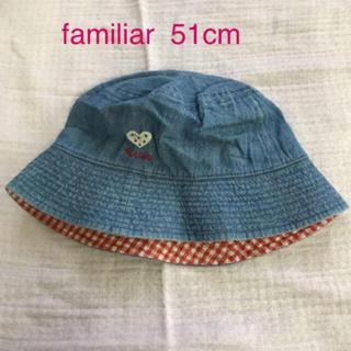 ファミリア(familiar)のファミリア 帽子 51cm  デニム 赤 ギンガムチェック  ハート (帽子)