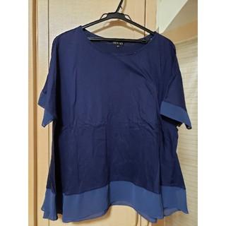 インディヴィ(INDIVI)のINDIVI 大きいサイズ 42 ブルー カットソー(カットソー(半袖/袖なし))