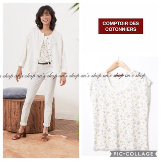 Comptoir des cotonniers - 【美品】2018SS LILLYBELLプリントTシャツ ホワイト
