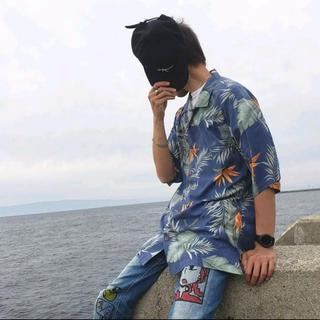 アロハシャツ シルク 総柄シャツ ビッグシルエット ゆるめ モード トレンド 青