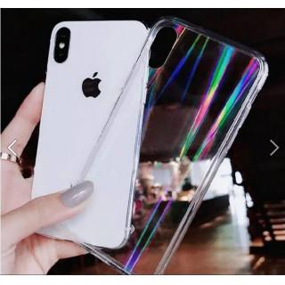 iPhoneケース☆オーロラホログラム シンプル 虹色 レインボー iPhone