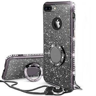 iPhoneケース リング ストラップ付きケース キラキラ かわいい(ブラック)