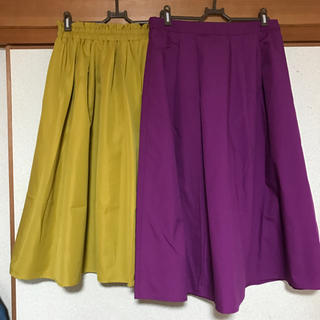 GU - 🌼ミモレ丈スカート マスタード 紫色 二点セット