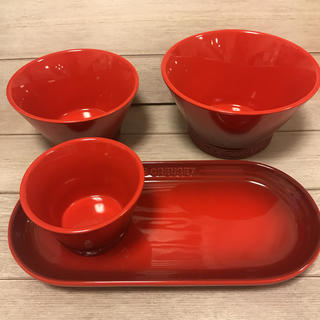 LE CREUSET - ルクルーゼ シンプルクッキング プレート&ボールセット チェリーレッド