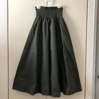 GU - GU  シャーリングフレアロングスカート  OLIVE