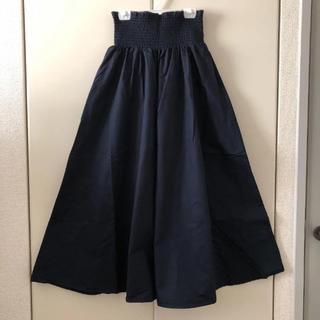 GU - GU  シャーリングフレアロングスカート  ネイビー