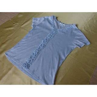ニジュウサンク(23区)の23区 フリル仕様 カットソー 薄ブルー サイズ38(カットソー(半袖/袖なし))