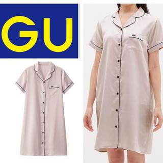 ジーユー(GU)のサテンパジャマワンピース(半袖)  ピンク(パジャマ)