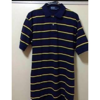 ポロラルフローレン(POLO RALPH LAUREN)の美品本物ラルフローレンの紺ボーダーのポロシャツM(ポロシャツ)