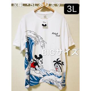 ディズニー(Disney)の新品タグ付き 大きいサイズ3L 波乗りミッキー BIGTシャツ(Tシャツ/カットソー(半袖/袖なし))