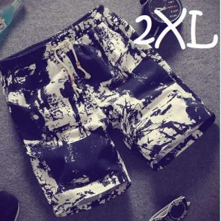 2XL 白 黒 総柄 清涼 ハーフ パンツ メンズ ショート 短パン 半ズボン(ショートパンツ)