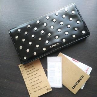 ディーゼル(DIESEL)の新品 ディーゼル メタル ロゴ 財布 長財布 スタッズ ウォレット ブラック(財布)