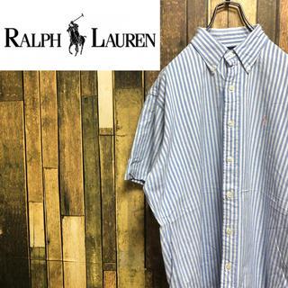 Ralph Lauren - 【激レア】ラルフローレン☆ワンポイント刺繍ロゴ入り半袖ストライプシャツ 90s
