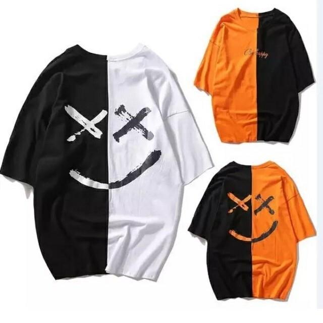 スマイルBIG Tシャツ 黒×白 オレンジ×黒 黒 メンズのトップス(Tシャツ/カットソー(半袖/袖なし))の商品写真