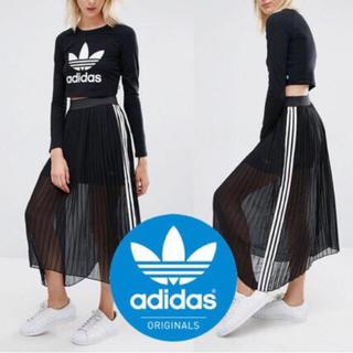 アディダス(adidas)の希少 adidas originals プリーツ ロングスカート 黒白 OT(ロングスカート)