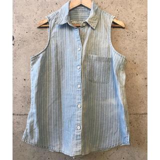 ギャップ(GAP)のGAP ノースリーブ ストライプ ビンテージデニムシャツ(シャツ/ブラウス(半袖/袖なし))