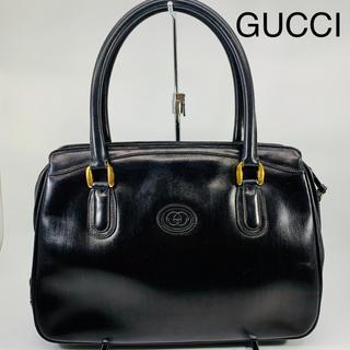 グッチ(Gucci)のレア品 VINTAGE GUCCI レザー ロゴ ハンドバッグ(ハンドバッグ)