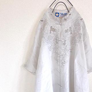 Santa Monica - 【90s 80s】個性派 デザイン カンフーシャツ 刺繍 丸襟 シャツ