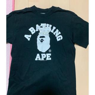 アベイシングエイプ(A BATHING APE)の激レアSサイズ! BAPEクラウンカレッジ猿ラインストーンTシャツ黒(Tシャツ/カットソー(半袖/袖なし))