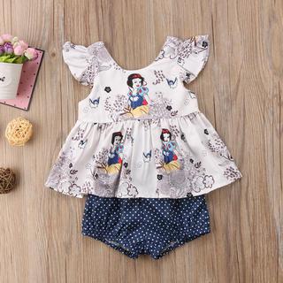 Disney - ベビー服 ブラウス パンツ セット 白雪姫 ホワイト ドット