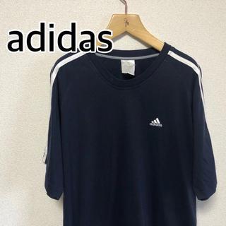 アディダス(adidas)の【ビンテージ】adidas アディダス Tシャツ スリーストライプ ネイビーM(Tシャツ/カットソー(半袖/袖なし))