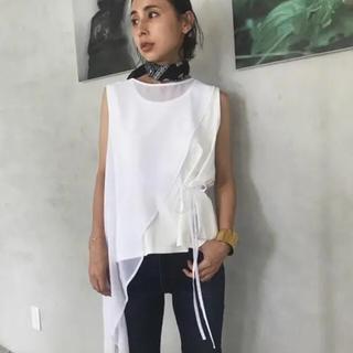 アメリヴィンテージ(Ameri VINTAGE)のアメリヴィンテージ♡ホワイト♡ SHEER OVERLAP TOP(Tシャツ(半袖/袖なし))