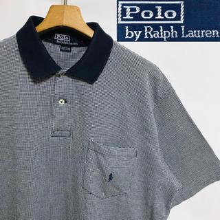 POLO RALPH LAUREN - レア!USA製!ポロラルフローレン ポニーマーク 千鳥格子柄 ビックポロシャツ
