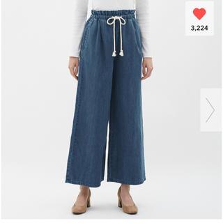 GU - 新品★GU デニムイージーワイドパンツ XL 濃いブルー