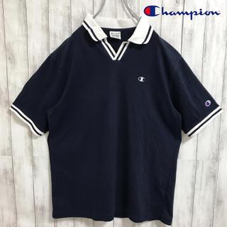 Champion - 90s 古着 チャンピオン ワンポイント刺繍ロゴ 開襟 ネイビー ポロシャツ