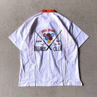 USED 90s 80s 古着 オープンカラー プリント シャツ L バイカラー(シャツ)