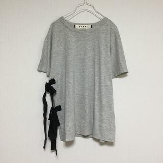 マルニ(Marni)のMARNI マルニ Tシャツ リボン スリット コットン イタリア製 グレー 灰(Tシャツ(半袖/袖なし))