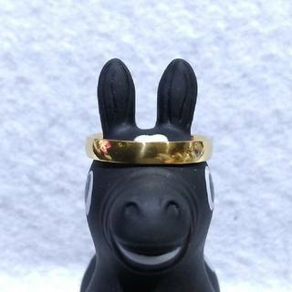 ステンレスゴールドの指輪22号と60cmのステンレスゴールドのネックレス付き(リング(指輪))