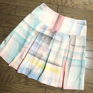 マークバイマークジェイコブス(MARC BY MARC JACOBS)のマークバイマークジェイコブス シルク100%チェック柄膝丈太プリーツスカート(ひざ丈スカート)