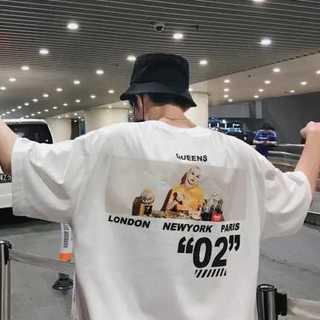 韓国ファッション ビッグシルエット プリント Tシャツ ホワイト (XL)(Tシャツ/カットソー(半袖/袖なし))