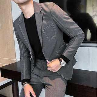 秋冬人気エリート細身メンズ髪型師ビジネス社会人スリム紳士服セットアップOT015(セットアップ)