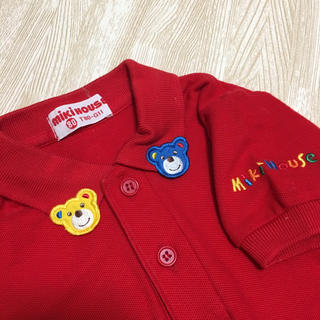 mikihouse - 美品☆ミキハウス ポロシャツ くま アップリケ レッド 80