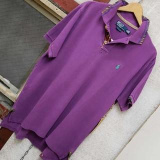 ポロラルフローレン(POLO RALPH LAUREN)のラルフローレンのレザー&ピーズ使いのポロシャツ☆XL です。(ポロシャツ)