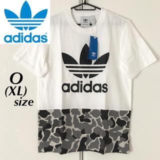 アディダス(adidas)の【定価5389円】adidas カモ柄ミックス ビッグロゴ Tシャツ 白 XL(Tシャツ/カットソー(半袖/袖なし))