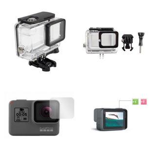 【ゴープロ 2点セット】ハウジングケース 防水 保護シート 液晶 GoPro