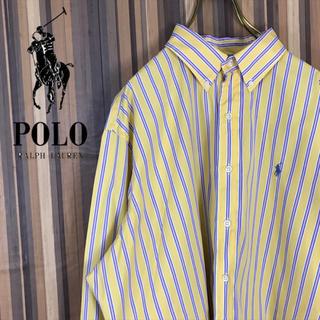 Ralph Lauren - 90s ラルフローレン BDシャツ マルチストライプ 刺繍ロゴ ビッグサイズ