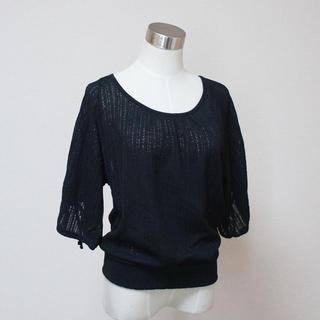 コルザ(COLZA)のCOLZA コルザ メッシュ 風 八分袖 腕裾シャーリング カットソー(カットソー(長袖/七分))