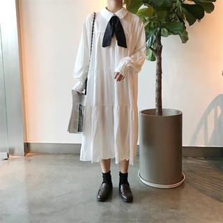 【2019年新作】リボン付きシャツワンピース  ワンピース ホワイト(ロングワンピース/マキシワンピース)