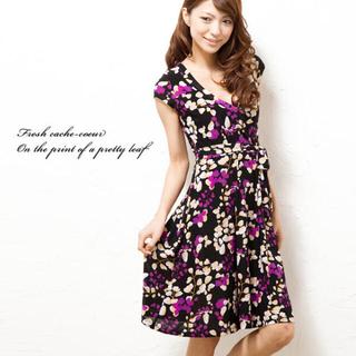 ビーシービージーマックスアズリア(BCBGMAXAZRIA)のLA Old Janet purple Leaf dress s (ひざ丈ワンピース)