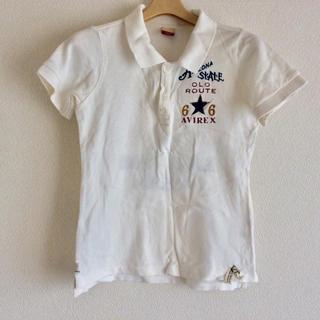 アヴィレックス(AVIREX)のAVIREX 刺繍アップリケ入 ポロシャツ 白 Mサイズ(ポロシャツ)