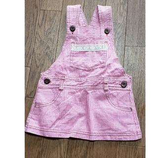 ニシマツヤ(西松屋)のデニム ジャンパースカート 90 ストライプ ピンク(ワンピース)