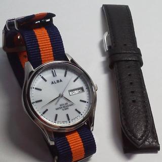 アルバ(ALBA)のベルト2本◎セイコーALBAソーラー◎メンズ腕時計黒革NATOタイプ18(腕時計(アナログ))
