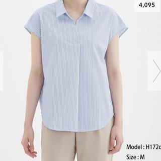 ジーユー(GU)のGU ストライプバックレースアップブラウス(半袖) (シャツ/ブラウス(半袖/袖なし))