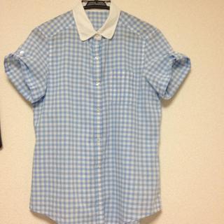 ジーユー(GU)のg.u ギンガムチェックシャツ(シャツ/ブラウス(半袖/袖なし))