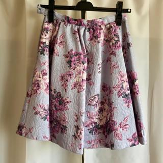 イートミー(EATME)のスカート ジャガードスカート 花柄 ラズベリー ブルー サイドファスナー(ミニスカート)
