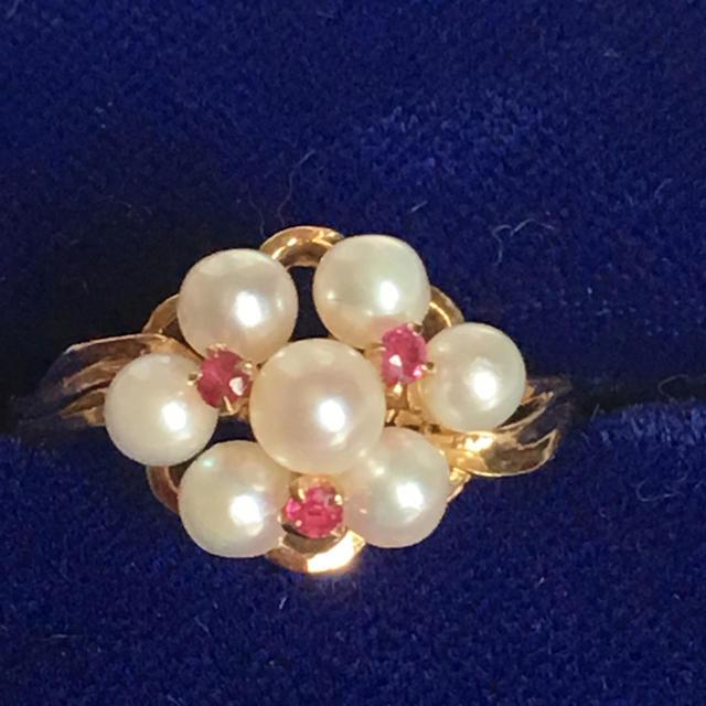 K18  ルビー あこや真珠 リング 美品 レディースのアクセサリー(リング(指輪))の商品写真